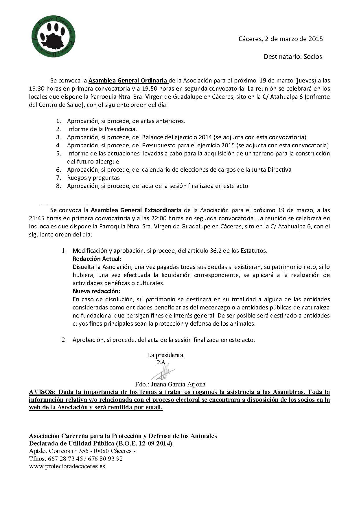 Convocatoria asamblea 2015 definitiva